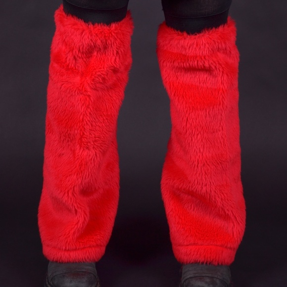 cece365551cf7 Trixy Xchange Accessories   New Red Faux Fur Flared Leg Warmers ...